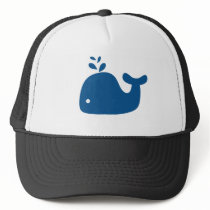 Navy Blue Silhouette Whale Trucker Hat