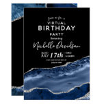 Navy Blue & Silver Agate Virtual Birthday Invitati Invitation