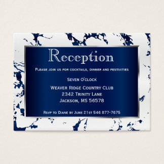 Navy Blue, Silver and White Satin - Reception Business Card