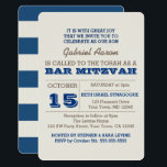 """Navy Blue & Silver Bar Mitzvah Invitation<br><div class=""""desc"""">These Bar Mitzvah invitations are perfect for any celebration. Each field of text is fully customizable to say exactly what you want (add names for twins,  etc).</div>"""