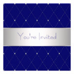 Navy Blue Silver Blue Corporate Party Personalized Invite