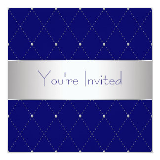 Navy Blue Silver Blue Corporate Party 5.25x5.25 Square Paper Invitation Card