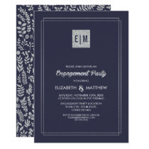 Navy Blue | Silver Engagement Party Invitations