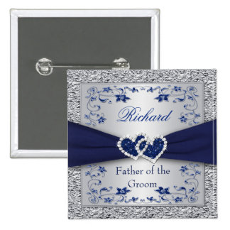 Navy Blue, Silver Floral Father of Groom Pin