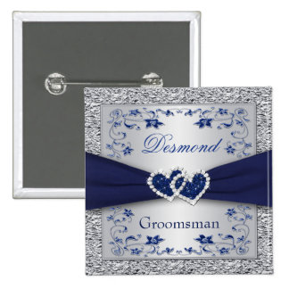 Navy Blue, Silver Floral Groomsman Wedding Pin