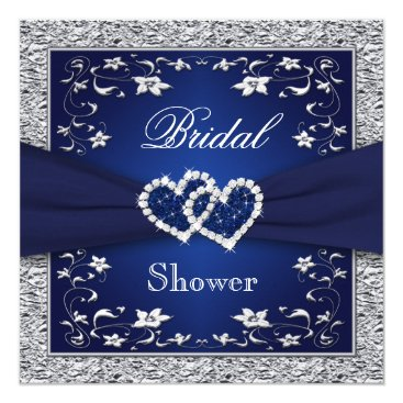 Valentines Themed Navy Blue, Silver Floral, Hearts Bridal Shower Card