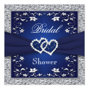 Navy Blue, Silver Floral, Hearts Bridal Shower 5.25x5.25 Square Paper Invitation Card