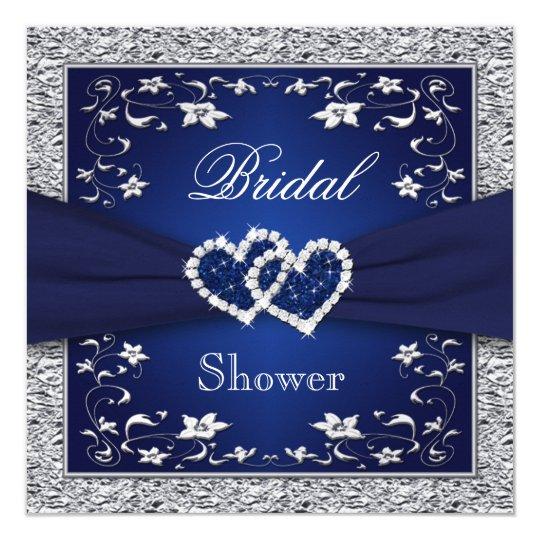 Navy blue silver floral hearts bridal shower invitation zazzle navy blue silver floral hearts bridal shower invitation filmwisefo