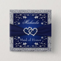 Navy Blue, Silver Floral Maid of Honor Wedding Pin