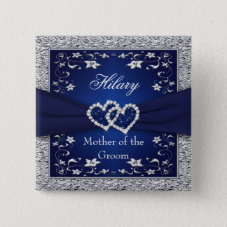 Navy Blue, Silver Floral Mother of the Groom Pin
