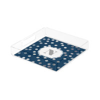 Navy Blue Silver Glitter City Dots Monogram Tray