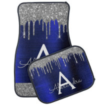 Navy Blue Silver Glitter Sparkle Monogram Car Floor Mat