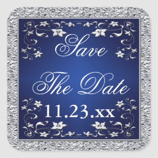 Navy Blue Silver Gray Floral Save The Date Sticker