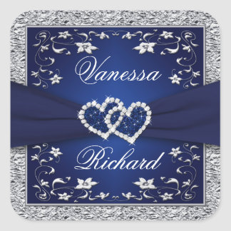Navy Blue Silver Gray Floral Wedding Sticker
