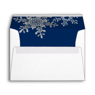 Navy Blue Silver Grey Snowflake Winter Wedding A7 Envelope