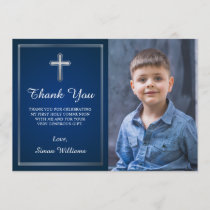 Navy Blue Silver Holy Communion Photo Thank You