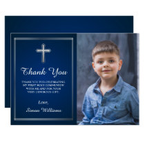 Navy Blue Silver Holy Communion Photo Thank You Invitation