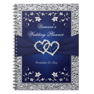 Navy Blue, Silver Joined Hearts Floral Notebook