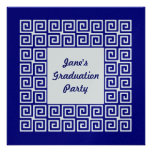 Navy Blue & Silver Key Grad Party Invitation