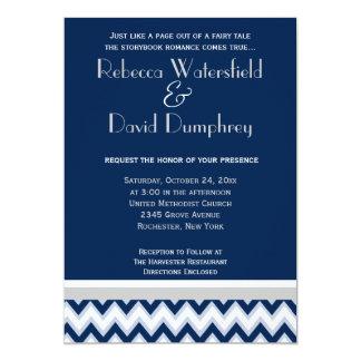 Navy Blue & Silver Mod Chevron Wedding Invitation