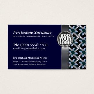 Navy Blue + Silver Pattern  w/ Logo Business Cards