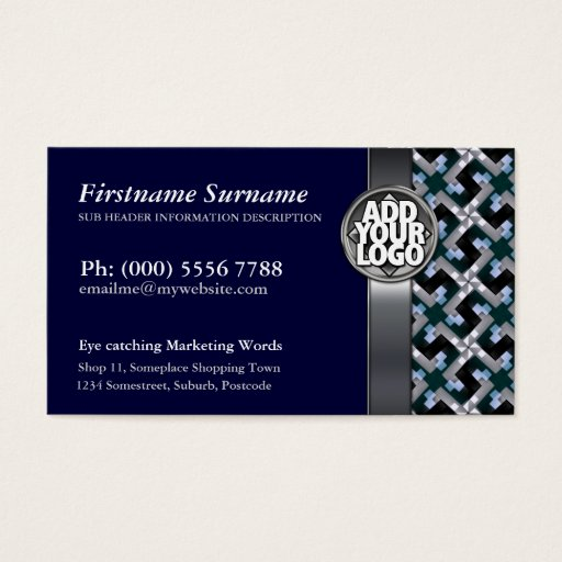 Navy Blue   Silver Pattern  w/ Logo Business Cards