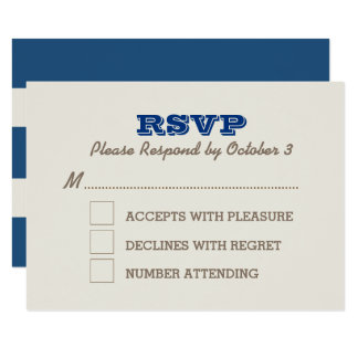 Navy Blue & Silver RSVP Card
