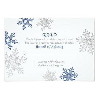 Navy Blue Silver Snowflake Winter Wedding RSVP Card