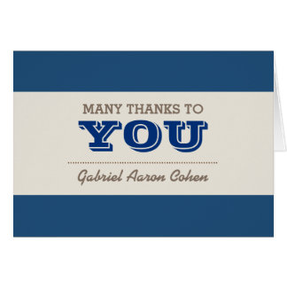Navy Blue & Silver Thank You Note Card