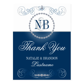 Navy blue silver Thank You postcards Postcard