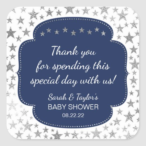 Navy Blue Silver Twinkle stars thank you favor Square Sticker