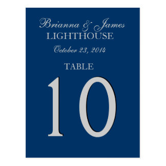 Navy Blue & Silver Wedding Table Number Card