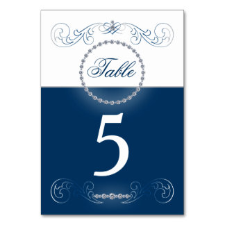Navy blue silver wedding table number cards