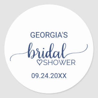 Navy Blue Simple Calligraphy Bridal Shower Classic Round Sticker
