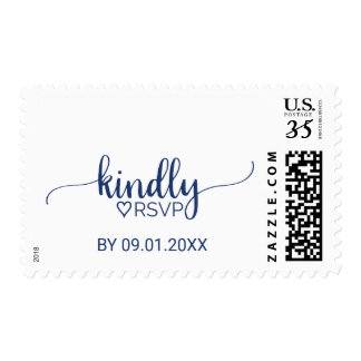 Navy Blue Simple Calligraphy Kindly RSVP Wedding Postage