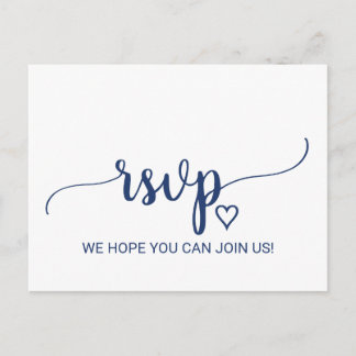 Navy Blue Simple Calligraphy Menu Choice RSVP