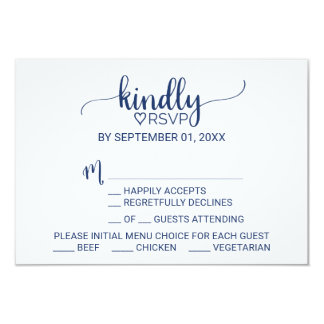 Navy Blue Simple Calligraphy Menu Choice RSVP Card