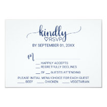Navy Blue Simple Calligraphy Menu Choice RSVP Invitation