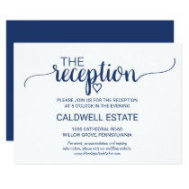 Navy Blue Simple Calligraphy Reception Insert Invitation