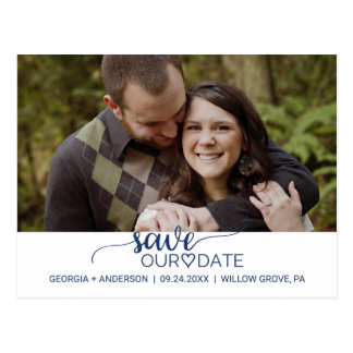 Navy Blue Simple Calligraphy Save Our Date Photo Postcard