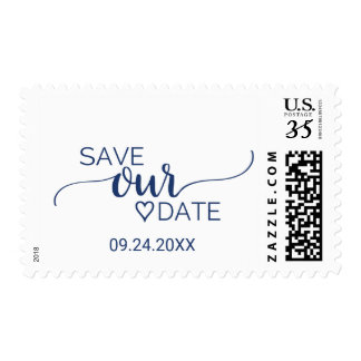Navy Blue Simple Calligraphy Save Our Date Postage