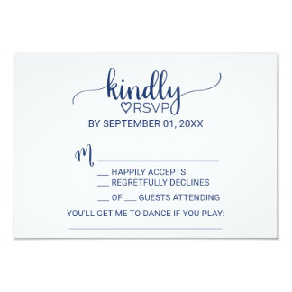 Navy Blue Simple Calligraphy Song Request RSVP Invitation