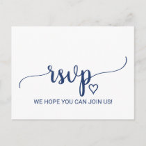 Navy Blue Simple Calligraphy Song Request RSVP Invitation Postcard