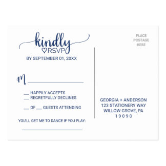Navy Blue Simple Calligraphy Song Request RSVP Postcard