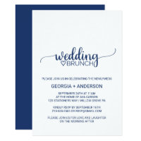 Navy Blue Simple Calligraphy Wedding Brunch Card