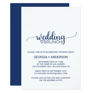 Navy Blue Simple Calligraphy Wedding Brunch Invitation
