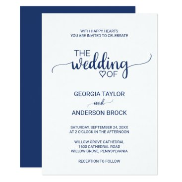 Valentines Themed Navy Blue Simple Calligraphy Wedding Card