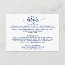 Navy Blue Simple Calligraphy Wedding Details Enclosure Card