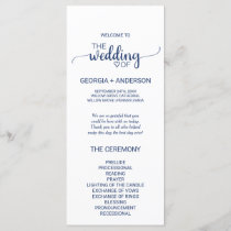 Navy Blue Simple Calligraphy Wedding Program
