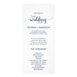 Navy Blue Simple Calligraphy Wedding Program
